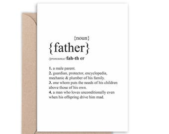 Father Dictionary definition Card | Father's Day Card | Thanks Dad | Handmade