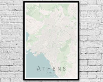 ATHENS Map Print | Greece City Map Print | Wall Art Poster | Wall decor | A3 A2