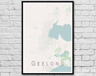 Geelong Map Print | Victoria Australia Wall Art Poster | Wall decor | A3 A2