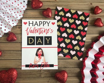 Digital Valentine's Day - Customizable - Black and Red Hearts