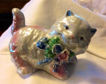Vintage Irridescent Porcelain Kitten Figurine