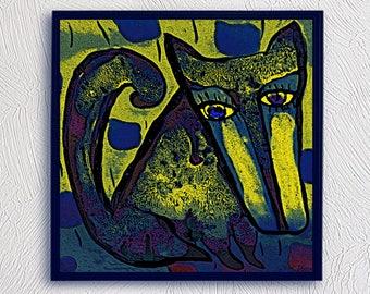 Dog Blue oil painting digital Sergey Gerasimenko illustration drawing poster for instant download