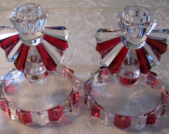 1940s Candlesticks Ruby Stained Indiana no. 1005 One Light Candlestick Pair