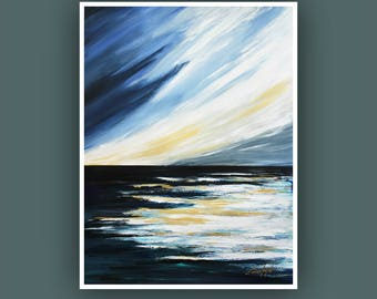 "Original Abstract Painting, Contemporary Art, Abstract Seascape Painting, Acrylic Painting on Paper 24""x18"""