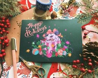 Opossum Holiday Card