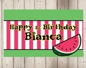 """18""""x36"""" Watermelon Theme Personalized Party Banner"""