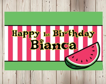 "18""x36"" Watermelon Theme Personalized Party Banner"