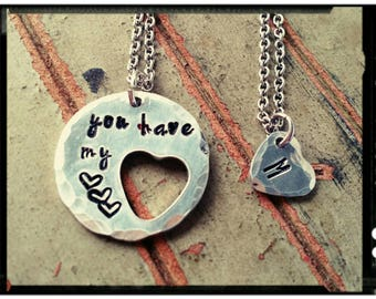 Couples/Friend Heart Necklace - Hand Stamped Aluminum//Necklace Set//Customize//Initial/Couples Gift