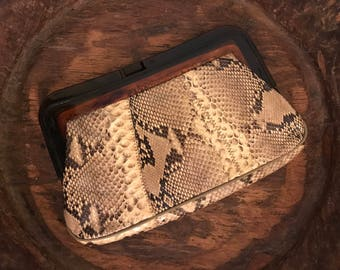 Vintage Faux Snakeskin Clutch Handbag with Brown Plastic Kiss Clasp by Margo