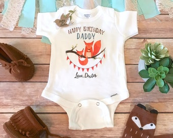 Happy Birthday Daddy Onesie®, Daddy Onesie, Father's Birthday Gift from Baby, Custom Onesie, Fox Onesie, Daddy Baby Outfit, Dad Onesie