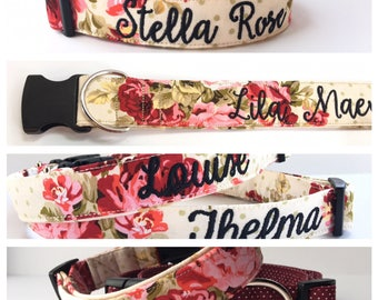 Dog Collar, Embroidered Dog Collar, Personalized Dog Collar, Flower print Dog Collar, Rose Collar, Personalized Collar,