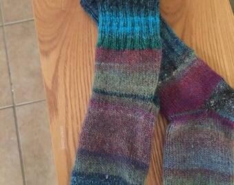 Hand-knitted striped women's socks