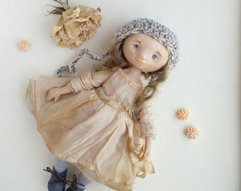 Cloth art interior Textile doll Сollecting Fabric blond OOAK Vintage in dress