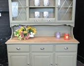 SOLD Solid Wood Welsh Dresser  Chateau Gray Annie SLOAN  Kitchen Unit  Shabby Chic