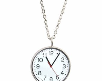 Clock Pendant and Silver Plated Necklace