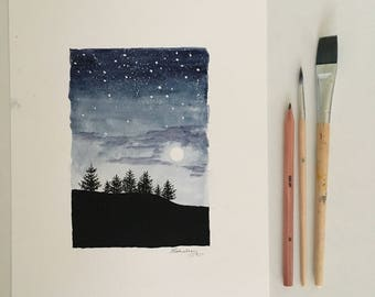 Original art | watercolour | stars and forest at night A4 poster | navy blue black