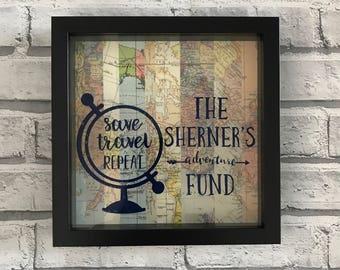 Personalised Travel Moneybox Frame - Savings - Adventure Fund