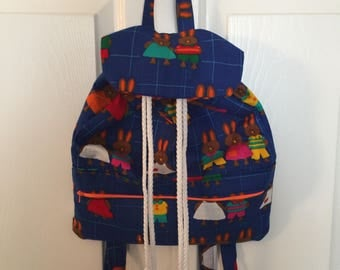 Bunnies on Blue Drawstring Backpack
