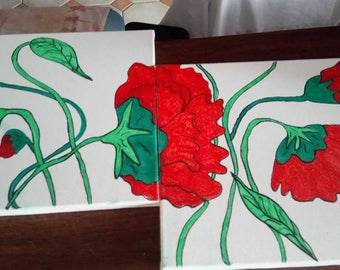 table offbeat red flower designs