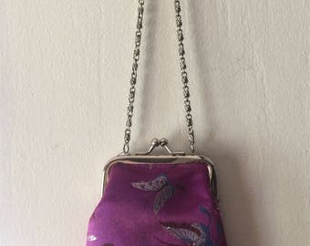 Handmade Oriental Coin Purse with Chain, Embroidered Purple Fabric Coin Purse