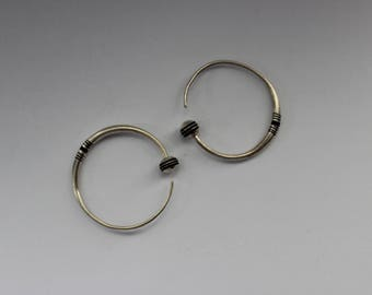 Silver and Ebony Tuareg Hoops