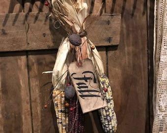 Primitive Dried Indian Corn Fall Harvest Decor Early Look Cabin Farmhouse Wreath Swag