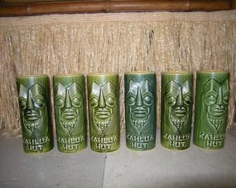 Set of 6 Kahlua Hut Tiki Mugs