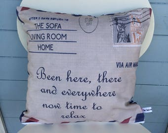 Airmail Sofa cushion, Been Here, There and Everywhere, Mom Gift, Vacation Pillow