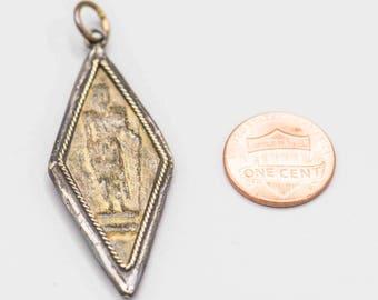 1 Walking Buddha Sandstone and Brass Buddhist Amulet Pendant 50x22mm Mala Jewelry Supply