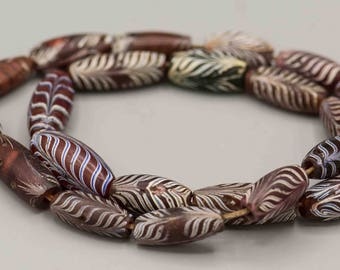 Antique Venetian Feather African Trade Beads 22 Beads SKU-TB-145