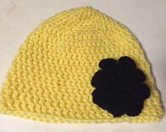 Crochet Yellow Winter Hat with Black Flower