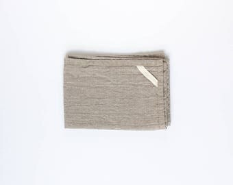 two linen hand towels / kitchen towel / bath and travel / natural flax