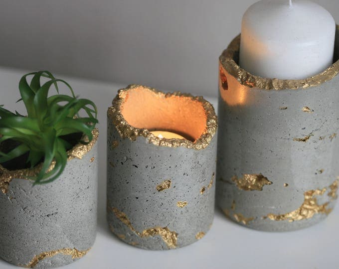 Concrete Candleholder | Concrete Planter | Distressed Homeware | Grey & Gold | Urban | Industrial | Rustic