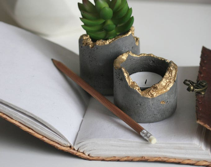 SET of 2 Concrete Candleholders | Concrete Planter | Distressed Homeware | Dark Grey & Gold | Urban | Industrial | Rustic