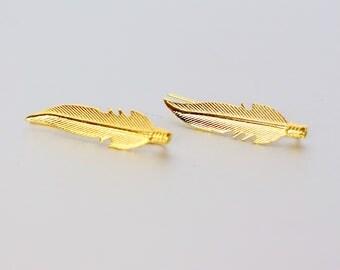 Feather Gold Plated Ear Creeper, Ear Creeper, Minimalist Earrings, Boho Jewelry, Bridesmaids Jewelry, Earrings, Simple Earrings,(E81)
