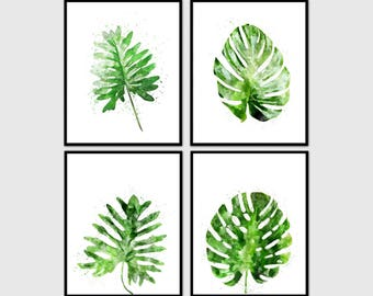Print Set Botanical, watercolor art.