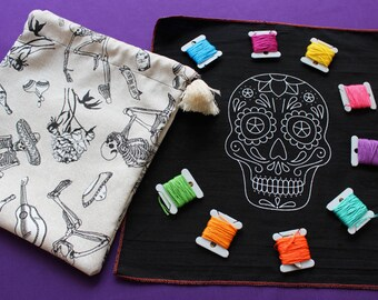 "DIY Embroidery Kit + video tutorial ""Calaverita de Azúcar"""