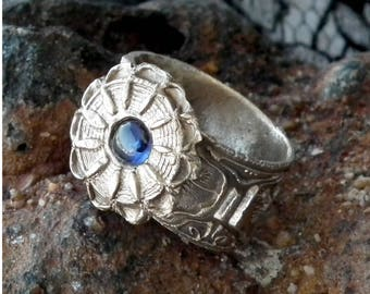 handmade  bronze ring ,vintage  Antique style, with  a blue lab-corundum or an other stone and metal colours  at your size- one week delay