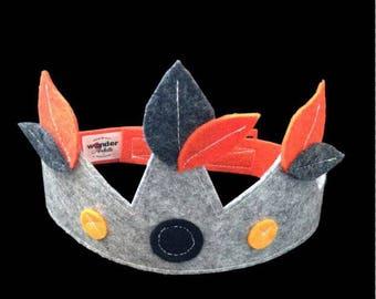 Kids costume accessory - felt Crown grey leaves orange and dark grey - King - Queen - Prince - Princess