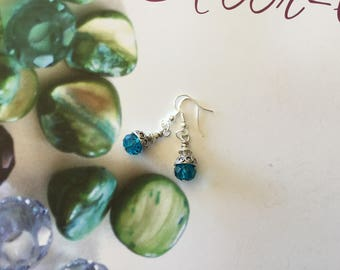 Elegant and classy earrings 925 sterling silver peacock blue
