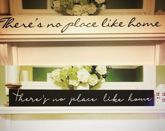 """Long Wooden painted """"Theres no place like home"""" sign / farmhouse / scandinavian style"""