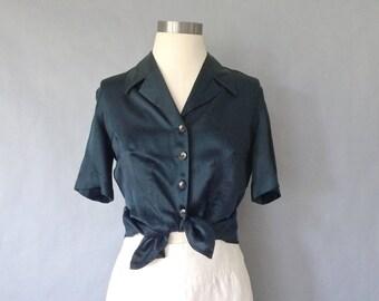vintage silk button down blouse.shirt.top minimalist women's size S/M