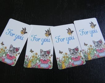 "4 small cards ""cat love"" 8.5 x 5.3 cm"