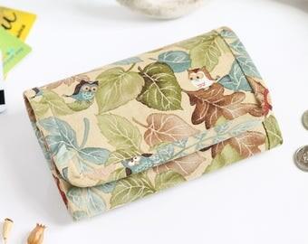 Forest wallet, Women wallet, Small fabric wallet, Pattern wallet, Change wallet, For her, Vegan mini wallet, Coin wallet, Boho wallet, Owl