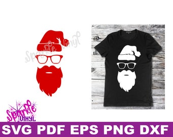 Svg Hipster Christmas Santa Shirt Sign stencil Decal printable or svg cut file dxf eps png pdf for cricut or silhouette