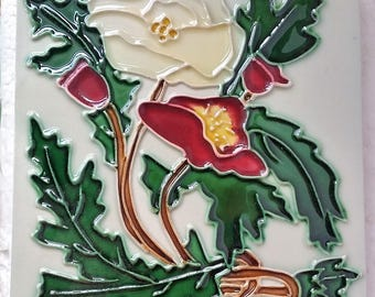 Vintage Ceramic Tile, Neatco Arts and Crafts / Art Nouveau Poppies