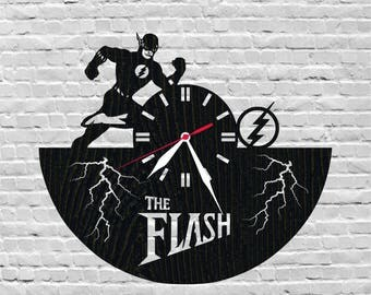 Wood decor/The flash/Flash clock/Lover gift/Christmas gift idea/Christmas present/Unique wooden gifts/Nursery gift ideas/The flash art