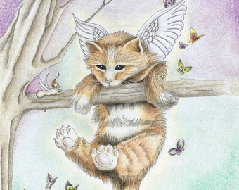 Learning To Fly - Fine art giclee print on high quality paper, originally done in colored pencil and ink of a kitten fairy
