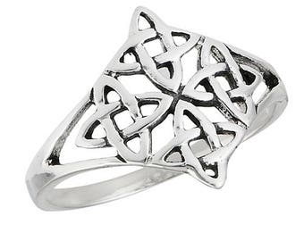 925 Sterling Silver Quarternary Knot Ring Size 6