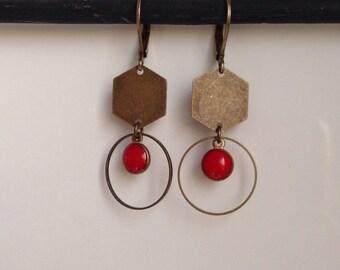 Enameled round - hexagonal - red sequin - graphic - geometric earrings - trendy
